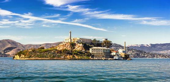 image of alcatraz island as seen from san francisco bay