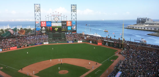 view of the field of AT&T Park from the upper deck of the park towards center field