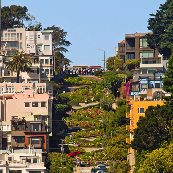 image of lombard street showing twisting street and homes