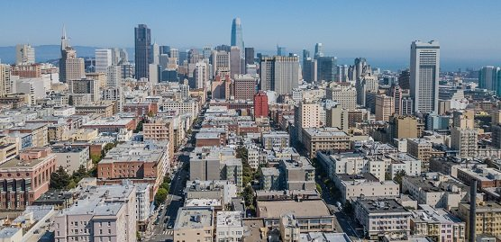 aerial view of the Nob Hill neighborhood in san francisco